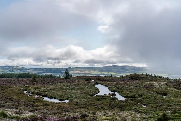 Krajobraz wicklow w pochmurny dzień z pewnymi odbiciami w wodzie kałuż.