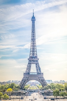 Krajobraz wieży eiffla w paryżu