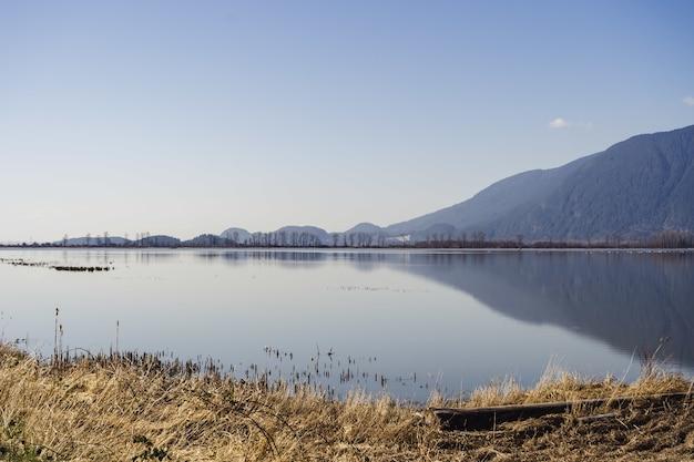 Krajobraz wigeon slough otoczony wzgórzami pod słońcem w kolumbii brytyjskiej w kanadzie