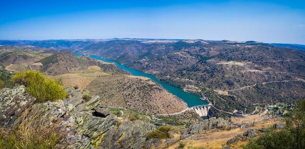 Krajobraz winnic i rzeki douro w pobliżu vila nova de foz coa, portugalia
