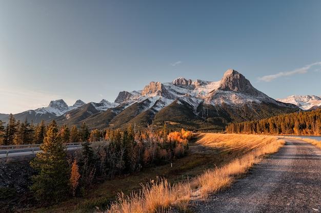 Krajobraz wschodu słońca na górze rundle, ha-ling, lady macdonals z błękitnym niebem w jesiennym lesie na zbiorniku rundle forebay, canmore, kanada