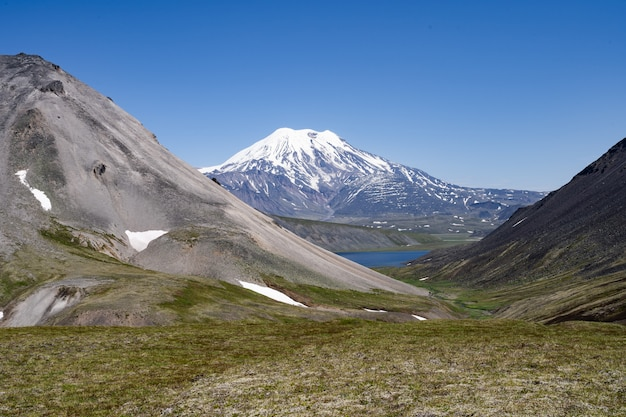 Krajobraz wulkanu półwyspu kamczatka