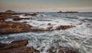 Krajobraz wybrzeża pływy