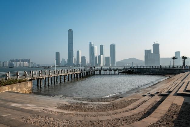 Krajobraz wybrzeża zhuhai i wyspa finansowa hengqin