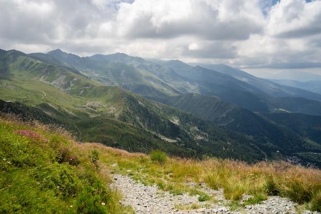 Krajobraz wzgórz pokrytych zielenią z górami skalistymi pod zachmurzonym niebem w tle