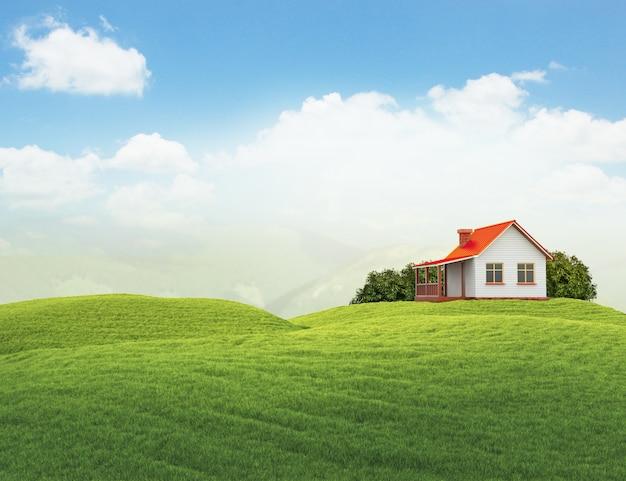 Krajobraz z domem i krzewami na białym tle