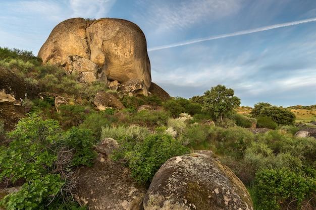 Krajobraz z dużą skałą znajduje się w parku przyrody barruecos.