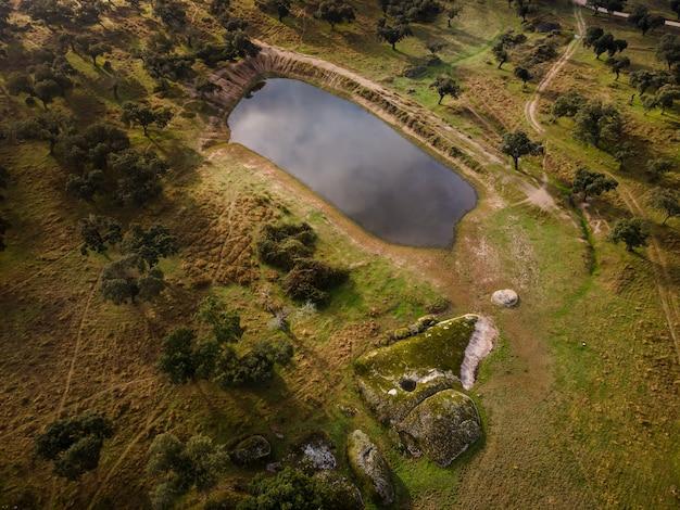 Krajobraz z laguną w dehesa
