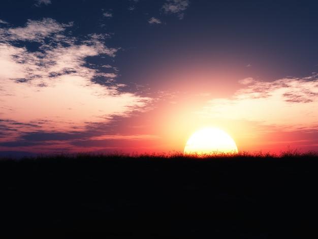 Krajobraz zachodu słońca