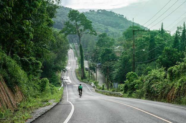 Krajobrazowa droga z zielonym lasem