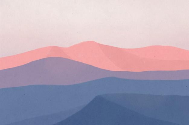 Krajobrazowe tło gór podczas ilustracji zmierzchu