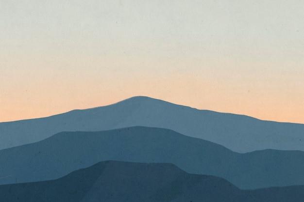 Krajobrazowe tło gór z ilustracją zachodu słońca