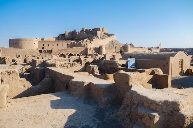 Krajobrazowy widok arg e bam, ruina i antyczny perski dziejowy miejsce w kerman, iran