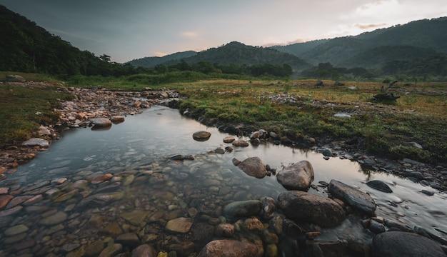 Krajobrazowy widok strumienia świeżej wody w górach