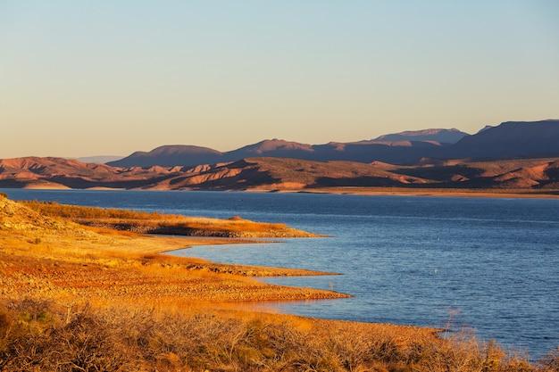 Krajobrazy arizony, pleasant lake, usa