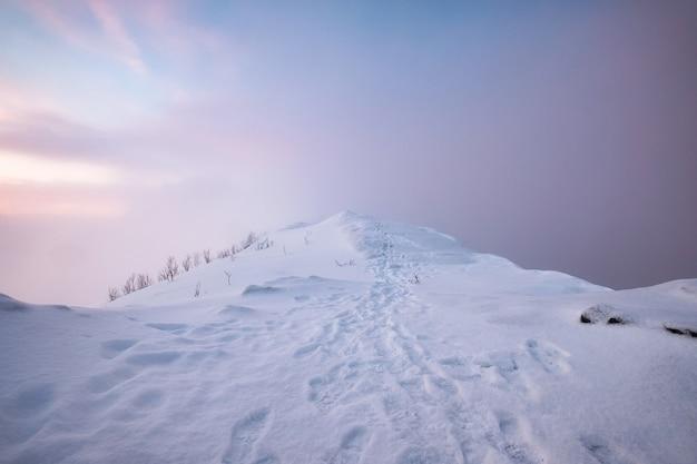 Krajobrazy pokryte śniegiem szczyt górski z śladem i kolorowe niebo w zamieci na górze segla na wyspie senja, norwegia