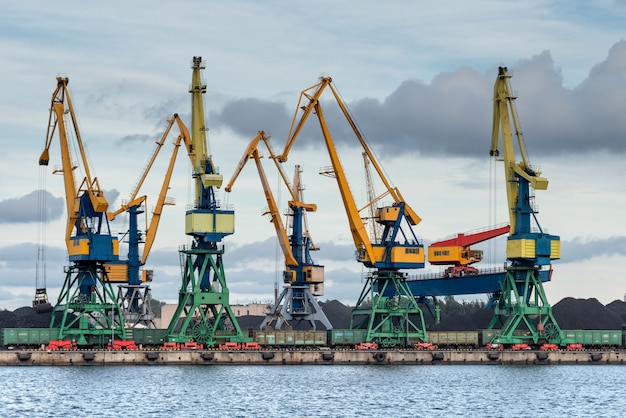 Krany wiosłują wzdłuż linii brzegowej portu