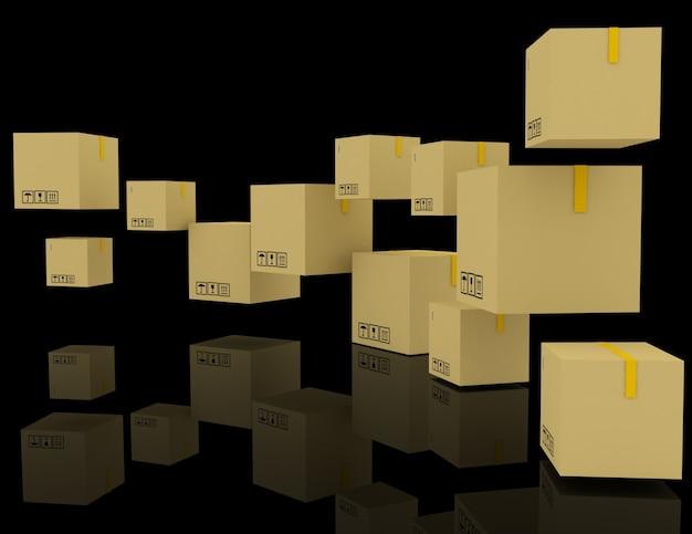 Kreatywna abstrakcyjna koncepcja wysyłki 3d