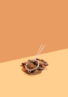 Kreatywna kompozycja izometrycznej projekcji ukośnej ze zdrowymi składnikami ekologicznymi produktami kakaowymi