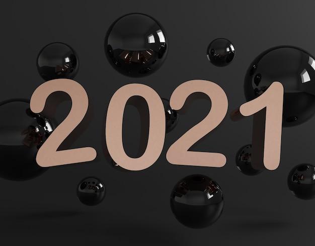 Kreatywna koncepcja szczęśliwego nowego roku 2021.