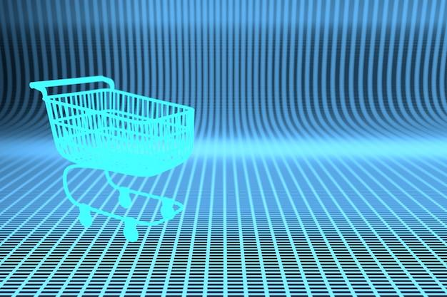 Kreatywna powierzchnia ze świecącym wózkiem na zakupy na niebieskiej powierzchni