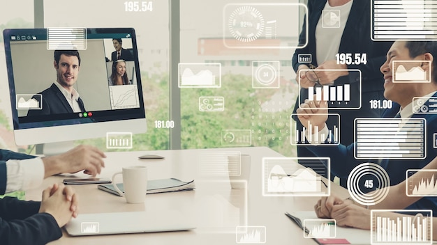 Kreatywna wizualizacja ludzi biznesu na spotkaniu pracowników firmy podczas rozmowy wideo