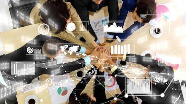 Kreatywna wizualizacja ludzi biznesu na spotkaniu pracowników korporacji