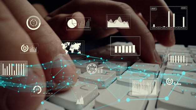 Kreatywna wizualna analiza dużych danych biznesowych i finansów na komputerze pokazującym koncepcję