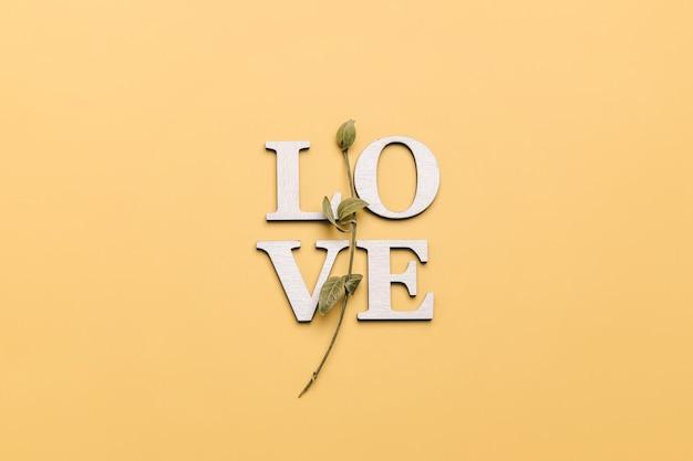 Kreatywne płaskie układanie słowa miłość na żółto z naturalnymi roślinami.