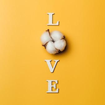 Kreatywne płaskie układanie słowa miłość z baumwolle.