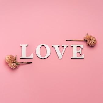 Kreatywne, płaskie ukształtowanie słowa miłość na delikatnym kolorowym tle z naturalnymi roślinami.