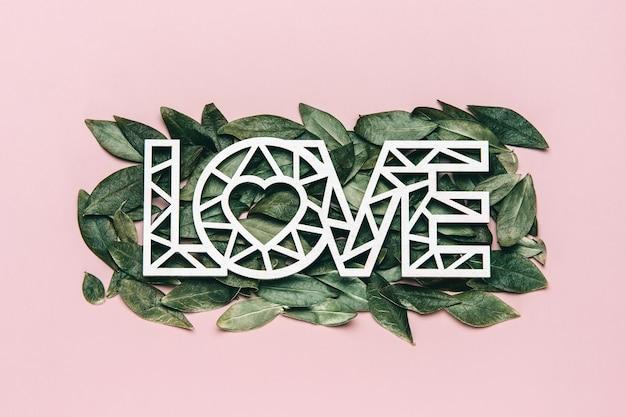 Kreatywne, płaskie ukształtowanie słowa miłość na różowo z naturalnymi liśćmi.