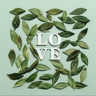 Kreatywne, płaskie ukształtowanie słowa miłość na zielono z naturalnymi liśćmi.