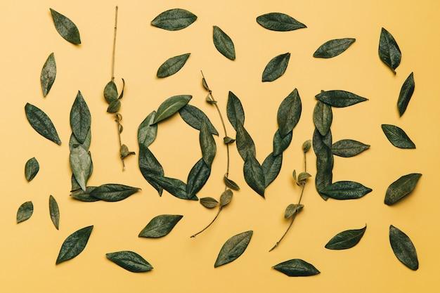 Kreatywne płaskie ukształtowanie słowa miłość wykonane z naturalnych liści na żółtym tle. koncepcja miłości.