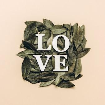 Kreatywne, płaskie ułożenie słowa miłość na beżu z naturalnymi liśćmi.