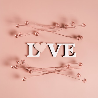 Kreatywne, płaskie ułożenie słowa miłość na miękkiej ścianie z naturalnymi roślinami.