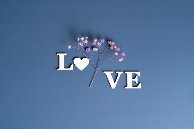 Kreatywne, płaskie ułożenie słowa miłość na niebiesko z naturalnymi roślinami.