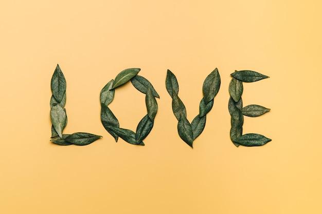 Kreatywne, płaskie ułożenie słowa miłość wykonane z naturalnych liści na żółto. koncepcja miłości.