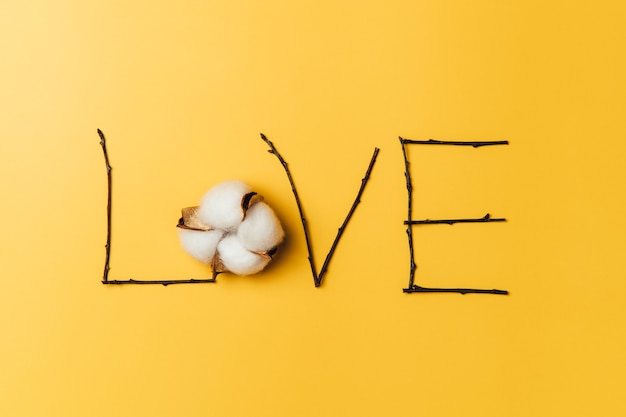 Kreatywne, płaskie ułożenie słowa miłość z bawełną baumwolle.