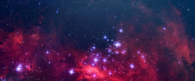 Kreatywne surrealistyczne niebo galaktyki abstrakcyjnej z wieloma gwiazdami, kolorowe elementy pyłu tego obrazu dostarczone przez nasa