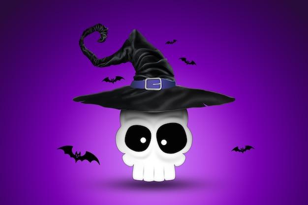 Kreatywne tło halloween. czaszka w kapeluszu czarownicy na fioletowym tle.