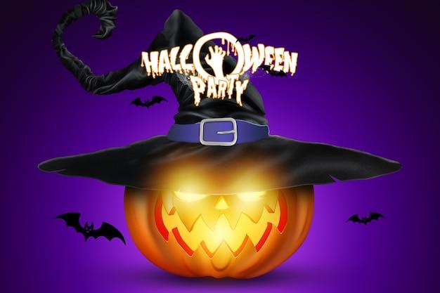 Kreatywne tło halloween. halloween party napis i obraz dyni.