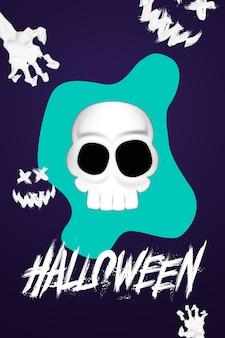 Kreatywne tło halloween. napis halloween i czaszka na ciemnym tle.
