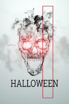 Kreatywne tło halloween. napis halloween i czaszka na jasnym tle.
