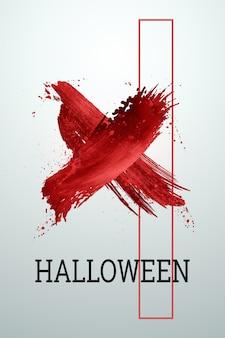 Kreatywne tło halloween. napis halloween i krew na jasnym tle.