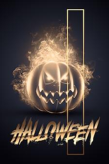 Kreatywne tło halloween. napis halloween i zła bania na ciemnym tle.