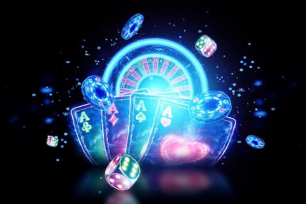 Kreatywne tło kasyna, neonowe karty do gry, ruletka, kości na ciemnym tle. ulotka. koncepcja gier hazardowych, pokera, nagłówka strony. skopiuj miejsce. ilustracja 3d, renderowanie 3d.