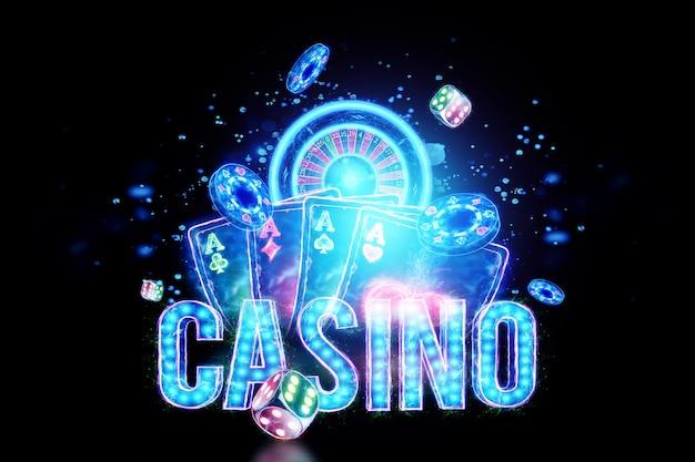 Kreatywne tło napis kasyno, neonowe karty do gry, ruletka, kości na ciemnym tle. koncepcja gier hazardowych, pokera, ulotki, nagłówka strony. ilustracja 3d, renderowanie 3d.