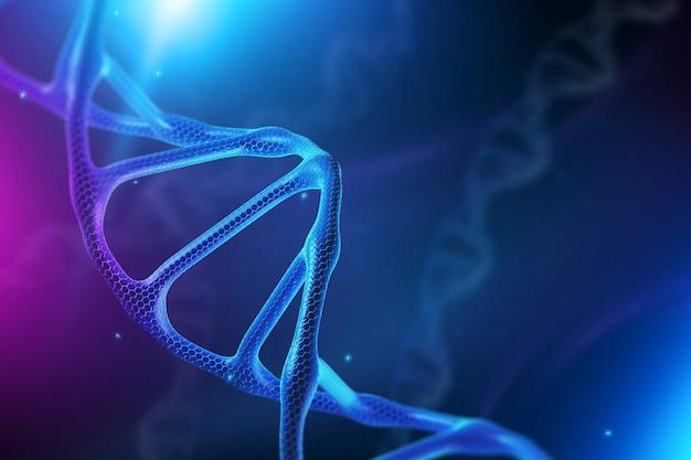 Kreatywne tło, struktura dna, cząsteczka dna na niebieskim tle, ultrafiolet.