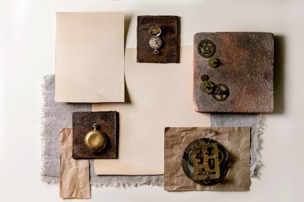 Kreatywne układy geometryczne kwadratów z natury materiały papier, tekstylia, drewno, ceramika i kamień